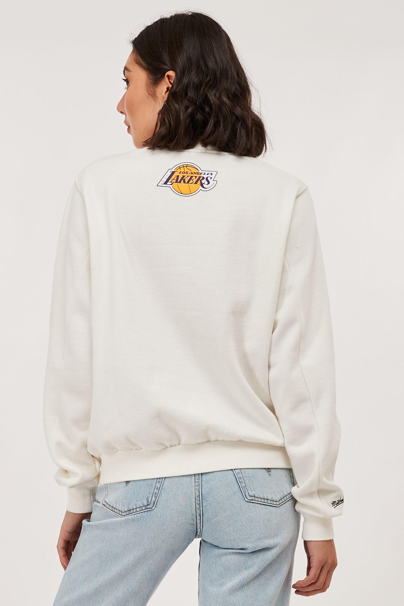 Mitchell & Ness LA Lakers Split Logo Crew vintage white